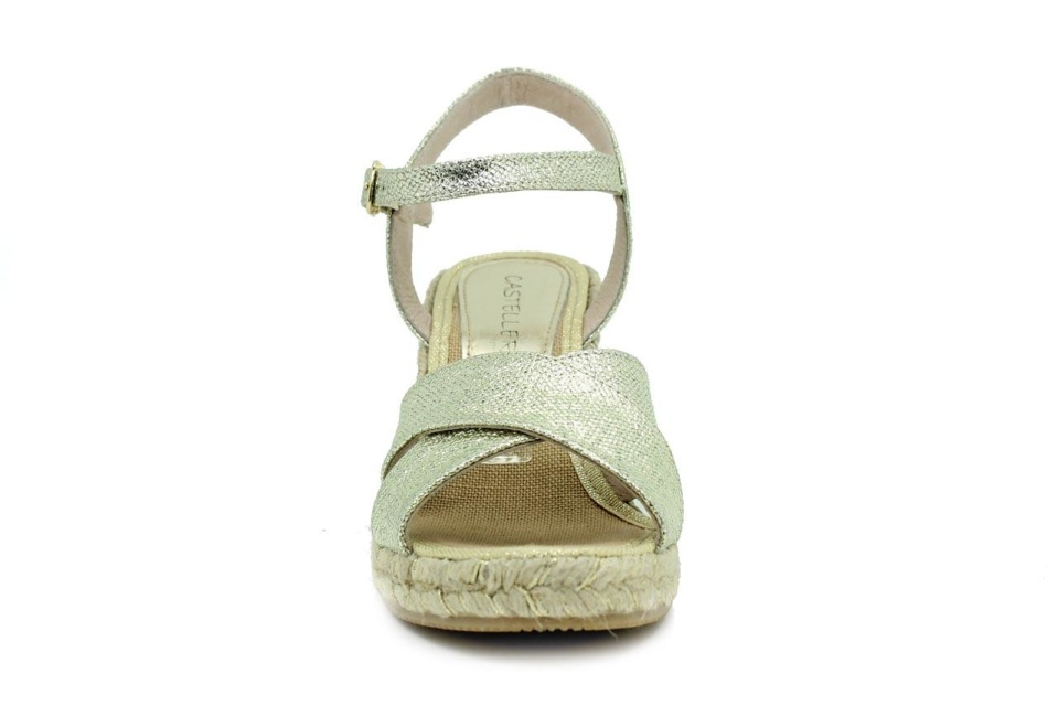 Casteller 339 Platino Leather Wedge Sandal