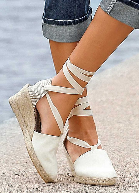 Mid Wedge Anckle Tie Espadrilles