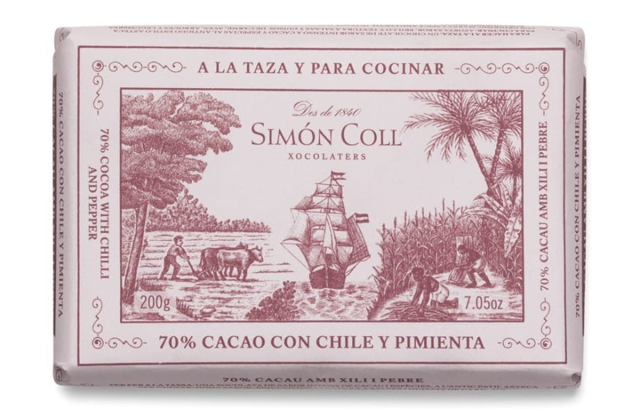 Simon Coll 70% Cocoa with Chili and Pepper Chocolate for drinking and for cooking | spanishoponline.com